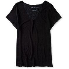 Aeropostale Oversized Slub-Knit V-Neck Tee found on Polyvore featuring tops, t-shirts, shirts, black, v neck t shirts, black tee, black oversized shirt, black t shirt and knit shirt