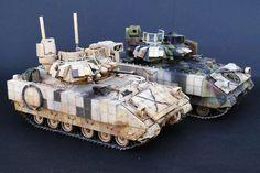 TRACK-LINK / Gallery / M3A3 BUSK III Bradley IFV (in desert scheme) Bradley Ifv, Bradley Fighting Vehicle, Military Armor, Military Modelling, Military Diorama, Model Kits, Armored Vehicles, War Machine, Rifles