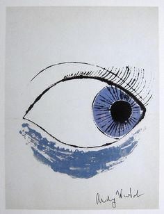 """Andy WARHOL, """"Eye"""", hand signed Offset Print. From a signed VIP-catalog from 1982. Hand signed by Andy Warhol in black pen. Size: 10.3 x 7.5 in (26 x 19 cm) printed on the back. Excellent condition with COA."""