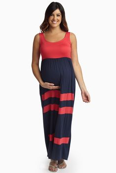 With the warmer season approaching, we all know what that means: maxi dresses everywhere! Navy-Coral-Striped-Bottom-Colorblock-Maternity-Maxi-Dress