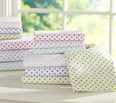 Sheets for Riley's bed Mini Dot Sheeting #PotteryBarnKids