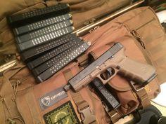 FDE Glock 17 w/ threaded barrel on my Drago AR case