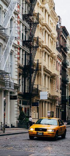 Cobblestoned streets in Soho, New York, USA