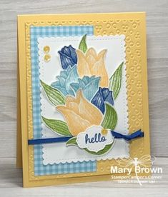 – Timeless Tulips - - Happy Monday everyone! This week we have a beautiful collection of fabric flowers for our inspiration! I loved the blues and yellows together and the layered flowers and used that for my inspiratio…. Love You To Pieces, Stamping Up Cards, Rubber Stamping, Unique Cards, Card Tutorials, Card Sketches, Copics, Folded Cards, Homemade Cards