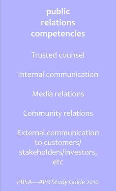 public relations competencies #PR #APR #PRSA