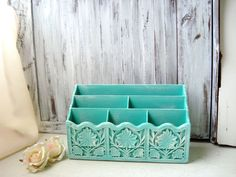 Aqua Vintage Mail Organizer Distressed Letter by WillowsEndCottage