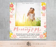 • Instant download •  Maternity mini sessions template  DETAILS:  • 1 PSD file • flat cards 5x5 inches • easily customize colors and text (word Mommy & Me you cant change) • layered photoshop PSD files at 300 dpi, • clipping masks, easy to drop your photos in • name of the fonts used included • photos are not included with this template   You will need basic knowledge of Adobe Photoshop to make changes in templates. AliceAndPaper products are created for photographic uses. These designs a...