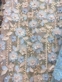 Tela del cordón de flor 3D en azul bebé Peach, tul bordado a encaje nupcial, tela abalorios perla alta costura boda vestido
