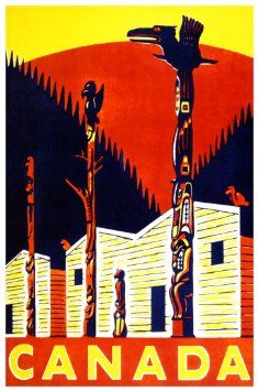Buy Vintage Canadian Travel Poster, Totem Poles, Cabins, Camping ...