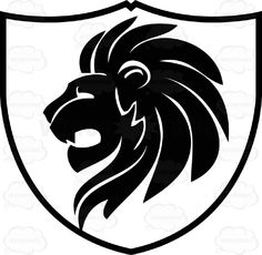 Black And White Close Up Of Lions Head With Flowing Mane Coat Of Arms Inside Geometric Plaque Shield