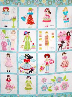 All Dolled Up-a fabulous quilt by all those talented gals in Utah. I'm a fan! - Could apply to talented gals in KY also! Vintage Quilts Patterns, Quilt Patterns, Sewing Crafts, Sewing Projects, Doll Quilt, Baby Quilts, Children's Quilts, Machine Applique, Appliques
