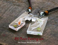 A couple of white koi resin painting pendant! A unique valentine's day gift for