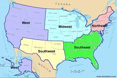 United States Geography: Regions. This site explains why some states are in different regions in different resources.