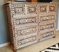 A DIY Anthropogolie inspired bone inlay stenciled dresser using the Indian Inlay Stencil Kit. http://www.cuttingedgestencils.com/indian-inlay-stencil-furniture.html