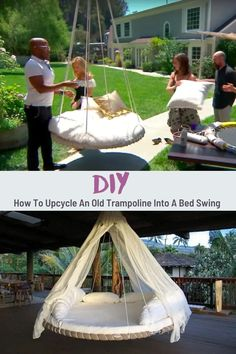 Diy Garden Furniture, Diy Garden Projects, Garden Crafts, Repurposed Furniture, Outdoor Projects, Trampoline Swing, Diy Store, Easy Diy Crafts, Upcycled Crafts