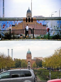 The Wall at Brücke Waldemarstraße, Kreuzberg in 1986. The artwork shows St. Michael's Church on the west side of the WallThe Berlin Wall: Photos of then and now The Local