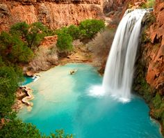 "havasu falls, supai, az. ""charter a helicopter, hike a steep 10 miltes, or hire a pack animal. and you'll need a permit."" i can't wait to do this!"