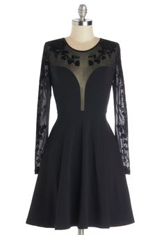 Clearly Chic Dress. Dressed in this A-line black dress by Motel, you arrive at tonight's soiree - you've gone stag, but with your beautifully bold personality, you have no problem finding new friends! #black #modcloth