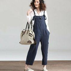 3-color  Pants Casual Loose Fitting Linen pants Cotton trousers Suspender Slacks overall pants for Women C179