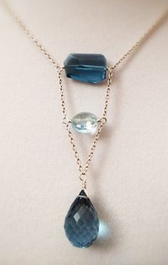 Faceted London Blue Topaz Nugget Necklace