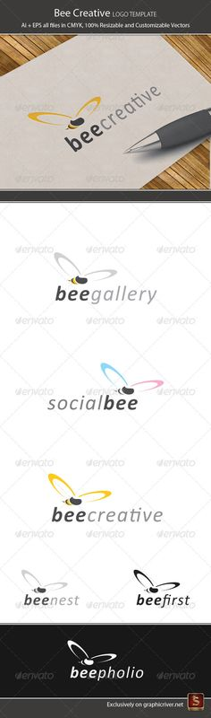 Bee Creative Logo Template #GraphicRiver Bee Creative – Logo Template Features Elegant and modern Logo Template which is 100% customizable and resizable. Made in – Ai and EPS. This logo template can be used for websites, stationery, clothes, etc. Logo is made with vectors for easy resizing and customizing – all texts can be rewritten even You can change the font or color. Used font: Calibri Changing all colors is as easy as one click to fill color in color palette. Bee Creative – Logo…