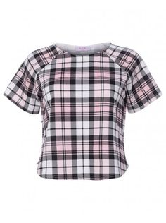 Womens Black & White Gingham Check Short Sleeve Boxy Top