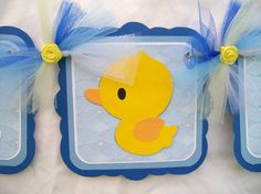 rubber ducky baby shower banner, it's a boy