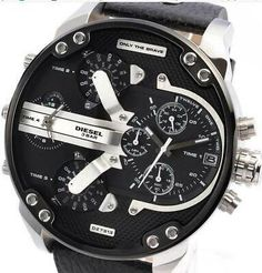 Daddy Dual Time Black Chronograph Dial Leather Men's Watch for sale online Armani Watches For Men, Luxury Watches For Men, Diesel Brand, Diesel Watch, Leather Case, Chronograph, Jewelry Watches, Daddy, Black Leather