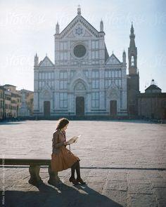 Woman resting at Santa Croce square, Florence, italy