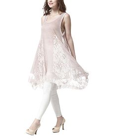 Simply Couture Pink Lace Godet Tunic | zulily