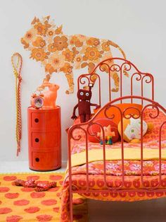 Bright Orange Girl Bedroom. Love this! Maybe someday, but right now Aubri will have no part of a room without a TON of pink! :)