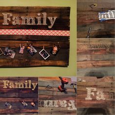 Pallets are free at Home Depot! Add nails, twine, ribbon & pics.