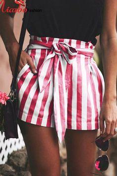 Casual Pants Summer Hot Sale Women's Fashion Stripes High Waist Hip Up Shorts Women's Summer Fashion, Girl Fashion, Fashion Outfits, Womens Fashion, Fashion Design, Fashion Edgy, Fashion 101, Fashion Ideas, Feminine Fashion