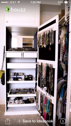 Looking to design a walk-in closet in your home? Let California Closets design a premium closet solution that matches your style, storage needs and budget. Master Closet, Closet Bedroom, Closet Space, Walk In Closet, Closet Wall, Pax Closet, Cabinet Closet, White Closet, Attic Closet