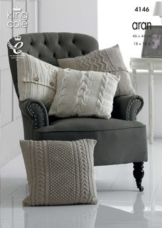Knitted aran cushion covers - King Cole