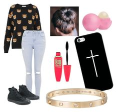 """""""Sem título #221"""" by bibienes ❤ liked on Polyvore featuring Moschino, Topshop, Converse, Eos, Casetify, Cartier and Maybelline"""