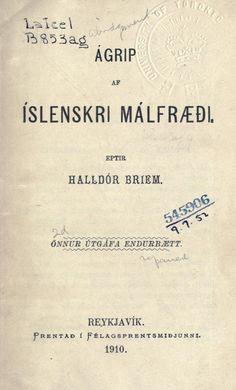Ágrip af íslenskri málfræði - eptir Halldór Briem