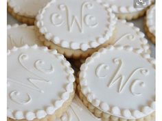 Monogrammed Scalloped Cookies 1 dozen any color by SweetGraceBakes
