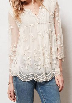Beige Floral Embroidery Grenadine Long Sleeve Sexy Dacron T-Shirt