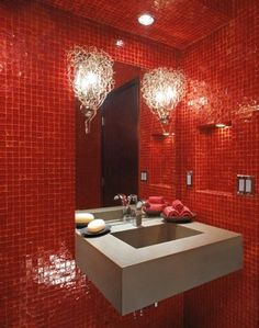 Dramatic red tiles and concrete sink and yes, this bath is ADA friendly. Think outside the box and create your own unique ADA bath escape.