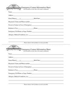 Emergency Contact Information Sheet - DOC