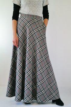 Gonna da donna vita alta in lana tartan lunga con tasche f7eb1932573