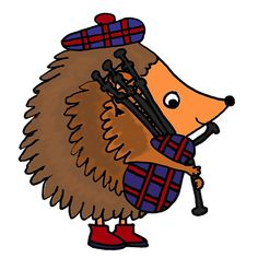 Funky Cool Hedgehog Playing Bagpipes
