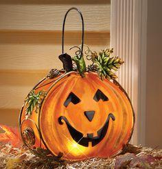 Pumpkin Tea Light Glass Candle Holder Halloween Decoration