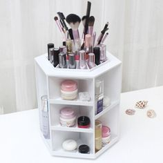 Cheap lipstick cosmetic storage, Buy Quality brush display stand directly from China stand brushes Suppliers: 360 Degree Rotation Rotating Make up Organizer Cosmetic Display Brush Lipstick Storage Stand White Hot Selling Diy Makeup Organizer, Make Up Organizer, Make Up Storage, Vanity Organization, Storage Ideas, Organization Ideas, Lipstick Organizer, Storage Rack, Cosmetic Display