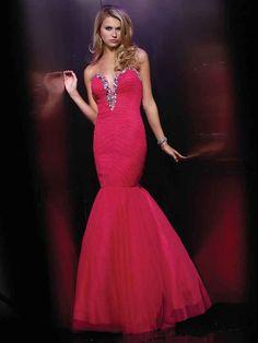 Trumpet/Mermaid Sweetheart Tulle Floor-length Sleeveless Rhinestone Prom Dresses at pickedlooks.com