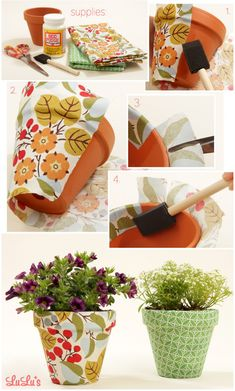9 DIY Decoupage Craft Ideas - two pink canaries Flower Pot Crafts, Clay Pot Crafts, Fun Crafts, Diy And Crafts, Mod Podge Crafts, Mod Podge Ideas, Decorated Flower Pots, Painted Flower Pots, Painted Pots