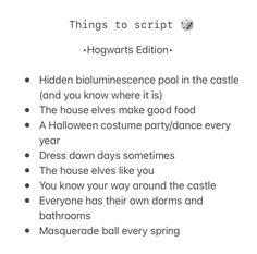 Hogwarts shifting script ideas