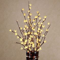 Yellow Forsythia Lighted Floral Bouquet Accent