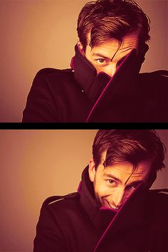 Tenth Doctor adorableness. At BBC Headquarters, they must teach people to be cool with their turned-up collar and cheekbones.